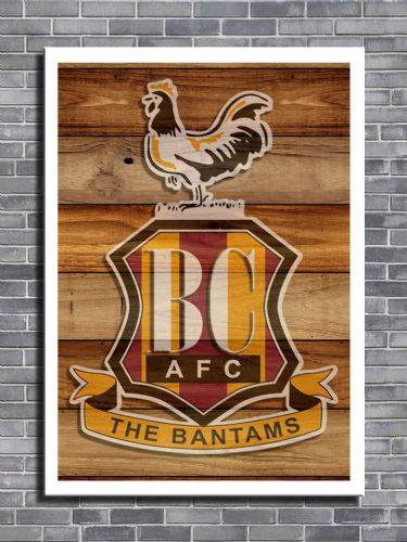 ART - BRADFORD CITY FC Wood look art - canvas print - self adhesive poster - photo print